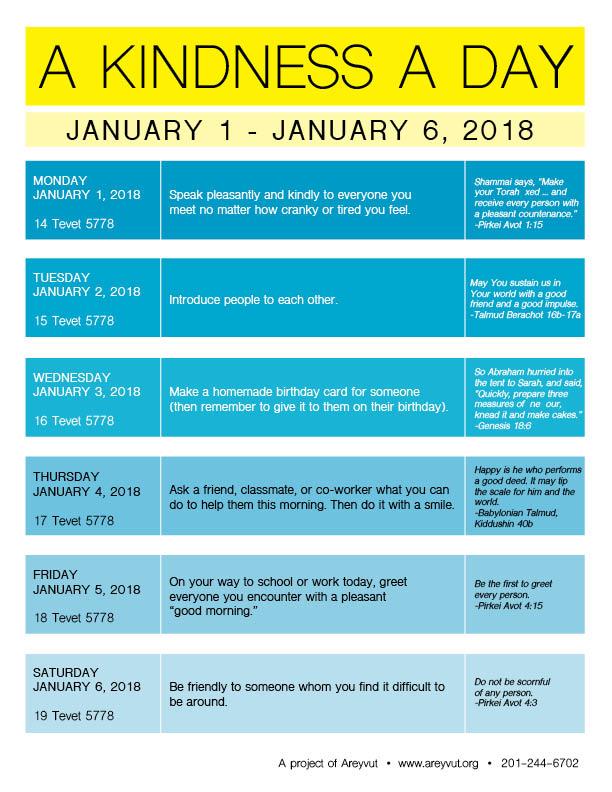 January 1-6, 2018